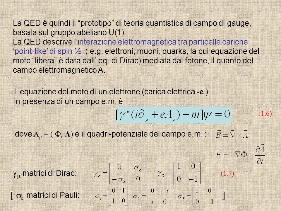 gm matrici di Dirac: [ sk matrici di Pauli: ]